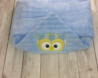 Hooded Baby Towel, Hooded Toddler Towel, Owl Towel, Baby Shower Gift, Owl Baby Gift, Baby Boy Gift