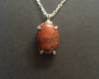 Wrapped Red Jasper Natural Stone Necklace