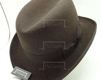 VINTAGE Wool Felt Formal Dura Homburg Top Hat - Brown