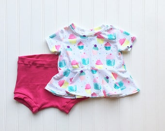 Girls Peplum Top with Shorts - Baby Girl Outfit - Summer Crop Top Outfit - Baby Girl Clothes - Peplum Top -  Baby Shower Gift - Handmade