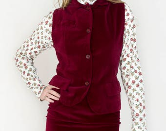 Vintage 1970s Red Burgundy Velvet Button Down Collared Vest High Waisted Pencil Mini Skirt Fall Winter Warm Plush Soft Set - X-Small