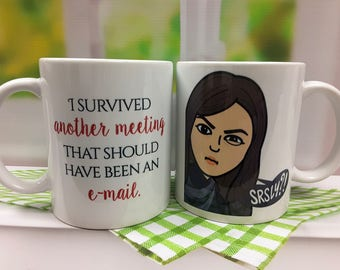 Bitmoji Mugs, Co Worker, Co Worker Gift, Custom Bitmoji Mugs, Personalized Mug, Boss Gift, Co-Worker Gift, I survived another meeting that