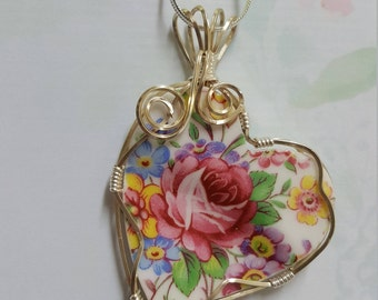 Broken china Heart  pendant. Rose bouquet wire wrapped in silver