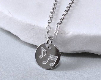 Gift for musician, music lover or music teacher, engraved sterling silver, musical note gift, personalised on reverse side.