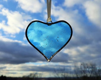Mini Stained Glass Pale Blue Heart Suncatcher, Mothers day gift, Wedding Favour, Mothers day heart, glass heart ornament, blue glass heart