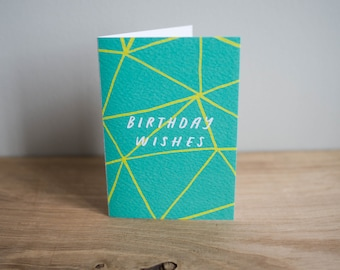 Illustrated, typographic 'Birthday wishes' card / green and yellow