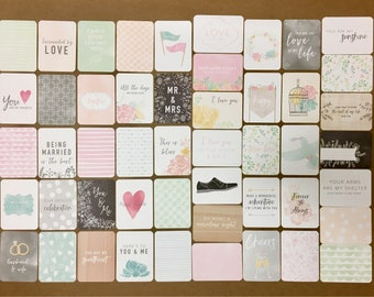 "MODERN WEDDING Edition - 50 Cards - Becky Higgins Project Life Core Kit (Partial Kit) 3x4"" Journaling Cards / Pocket Cards - New Release!!"
