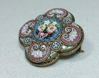 800 Silver Micro Mosaic Brooch Pin, Grand Tour Italy, Souvenir Jewelry