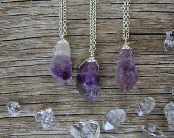 Silver Amethyst Necklace / Raw Crystal Necklace