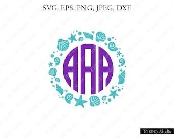 Seashell Wreath SVG, Seashell Monogram Svg, Mermaid Svg, Seashell Clipart, Sea Beach SVG, Cricut, Silhouette Cut Files