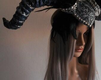 Demon headdress, gothic headdress, fantasy headpiece, studs, macrame lace, masquerade