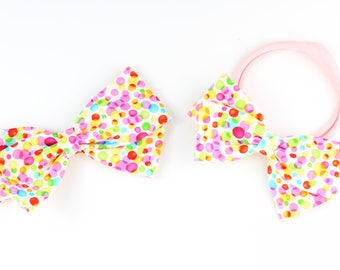 Bubbles Hair Bow - Multi color hair clip for babies and girls - Bright Fabric Bow