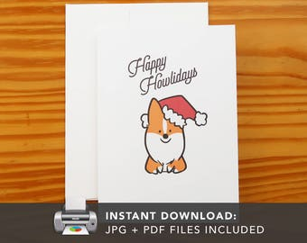 PRINTABLE Red Howliday Corgi Greeting Card | Printable Holiday Cards | Corgis Christmas Holiday Greeting Card | Instant Download JPG PDF