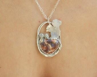 OOAK sterling squirrel metalsmith necklace silversmith necklace sterling necklace bohemian sterling boho sterling artisian sterling necklace
