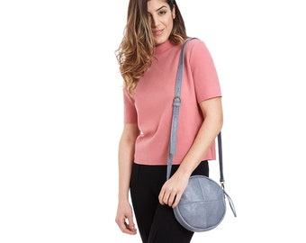 small blue round trendy purse, summer crossbody bag, leather minimal purse.  Best option: with extra cotton stripe strap