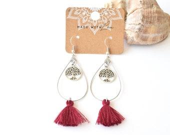 Bohemian earrings | tree of life | tassel earrings | nickel free | boho | bordeaux red | silver