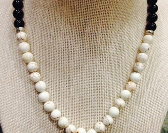 Jasper and Magnesite Beaded Necklace by Dobka