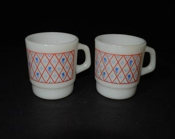 2, Milk Glass, Termocrisa, stackable mugs, Coffee mugs, Tea Cups, Mexico, 1960s, C handle, crisscross pattern, blue flower, vintage