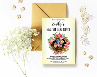 Easter Birthday Invitation, Easter Eggs Party Invitation Easter Egg Hunt Printable Invite Watercolor Easter Invitation Digital Downloadable