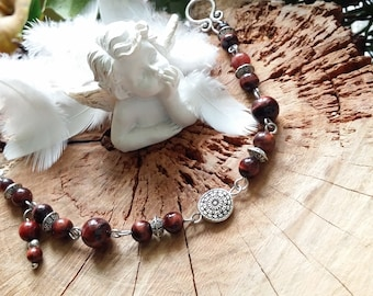 Red Tiger eye bracelet in silver - stone of protection - by AngelS SignS