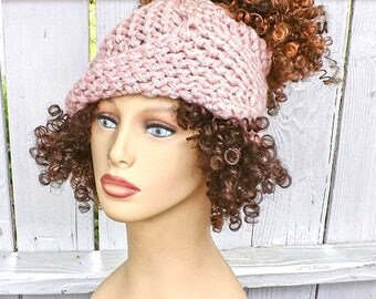 Messy Bun Beanie Ponytail Hat Crochet, Chunky Hat Womens Chunky Beanie Hat, Blossom Top Rosy Cheeks Pink Crochet Hat Pink Hat