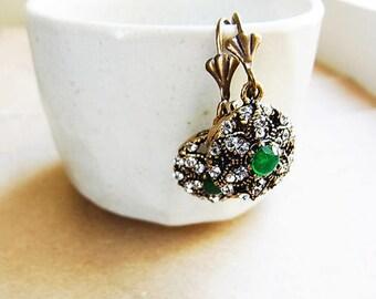 Turkish Emerald Rhinestone and Crystal Detailed Ear-rings // Green Rhinestone + Clear Crystal Detailed // Antique Bronze Setting (One Pair)