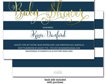 Navy Blue and Gold Baby Shower Invitation | Boy Baby Shower Invitation Navy White Stripes |  Printable Baby Shower Invite | Printed