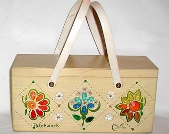 Enid Collins, Vintage Handbag, Patchwork, Wooden Box Bag, Collins of Texas Handbag