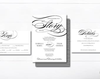 Editable and Printable Black and White Script Wedding Invitation Template - Instant Download