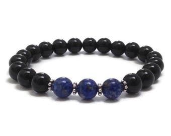 Lapis Lazuli Bracelet, Onyx Beaded Bracelet, Chakra Bracelet, Mala Beads Birthstones , Get Well Recovery, Christmas Holiday Gift for Women