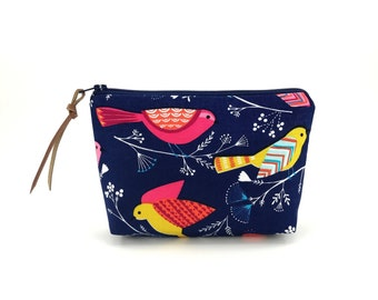 Bird Zipper Pouch - Cosmetic Bag - Small Zippered Bag - Padded Pouch - Gift ideas - Blue Pouch - Accessory Bag - Notions Pouch