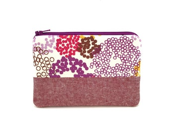 Coin Purse - Zipper Pouch - Purple Dots Patchwork Pouch - Purse with Pocket - Zipper Wallet - Small Padded Pouch