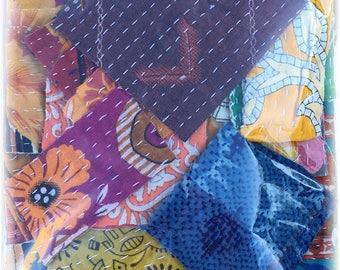 Vintage Kantha Quilt Scrap Pack for Mixed Media, Collage, Fiber Arts!