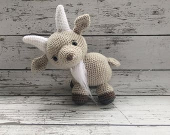 George the Goat, Crochet Billy Goat, Stuffed Animal, Goat Amigurumi, Plush Animal, Ready to Ship