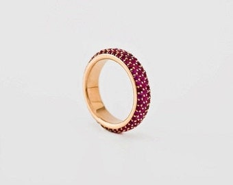 Ruby Eternity Band, Ruby Eternity Ring, Ruby Wedding Band, Ruby Pave Ring, Anniversary Ring Ruby Rose Gold 18k, Wide Stack Band Ruby, Berman