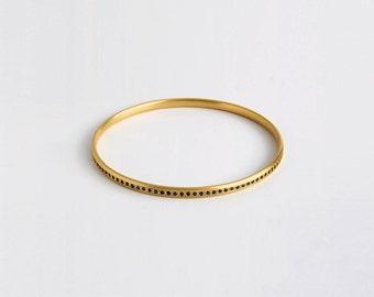 18k Gold Blue Sapphire Bangle Bracelet,September Birthstone Bracelet,Dainty Saphire Stacking Gemstone Bangle Genuine Sapphire