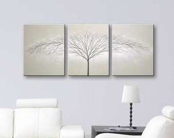 Canvas Art Wall Art Tree of Life Wall Decor Minimalist Painting Gray Gray Art Trees Home Decor Wall Hangings Original Painting ToddEvansArt