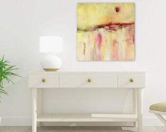 Large Abstract Print, Giclee Art Print, Modern Canvas Art, Yellow Pink Painting, Contemporary Wall Art Artwork Huge Wall Art Living Room Art