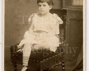 CDV Carte de Visite Photo Victorian Seated Child - Boy in Dress (?) Stripe Socks Portrait - A Letalle of Birmingham England Antique Photo