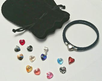 Pandora-style braided leather charm bracelet with Swarovski crystal heart charm. Double wrap. Fits Pandora, Thomas sabo and European charms.