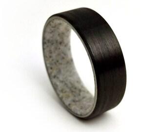 Deer Antler Ring, Antler Ring, Black Zirconium Ring, Mens Ring, Antler Band Rings, Womens Antler Rings, Antler, Promise Rings, Gifts for Him