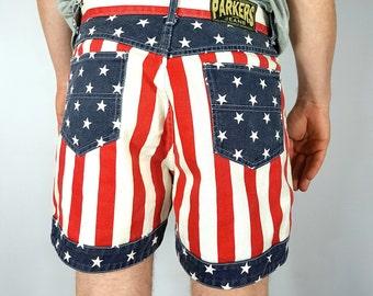 On Sale 90s American Flag Print Shorts Vintage USA Flag Print Jean Short 90s Denim Shorts Americana Jeans Shorts Flag Shorts USA *FREE Ship*