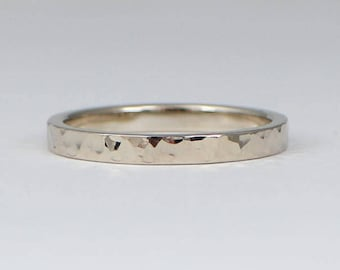 White gold wedding band,2.5 x 1.5 mm, in hammered shinny finish,Men or Women ring.Option of yellow or rose gold too.FREE SHIPPING.