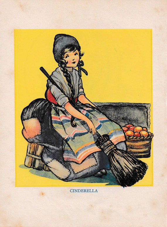 "Children's book illustration by H.G.C. Marsh Lambert, ""Cinderella"", published 1950s, book print"