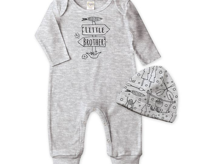 Little Brother Newborn Boy Coming Home Outfit, Little Brother Baby Romper, Newborn Baby Boy Onesie Camper Hat Outfit, Little Brother Outfit
