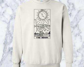 The Moon Tarot Card Grunge Crewneck Sweatshirt