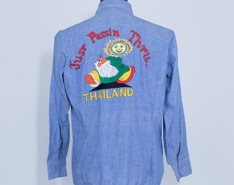 Vintage 70s Large R. Crumb Embroidered Chambray Hippie Button Down Work Shirt Souvenir
