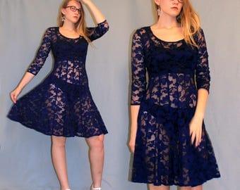 Vintage Navy Blue Lace Sheer Dress, Sheer Lace Dress, Vintage Lace Dress, Sheer Dress, Lace Bohemian Dress, Boho Lace Dress, Blue Sheer Lace