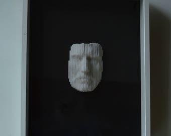Male portrait sculpture (framed)