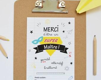 Carte illustrée SUPER MAÎTRE // Carte cadeau de fin d'année pour les maîtres au format A6, carte de remerciements, carte message
